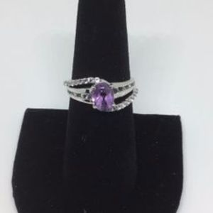 Viola, Purple Amethyst & White Topaz Ring